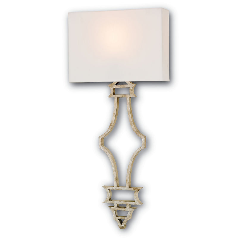 Currey and Company 5173 Eternity Silver Wall Sconce in Silver Granello