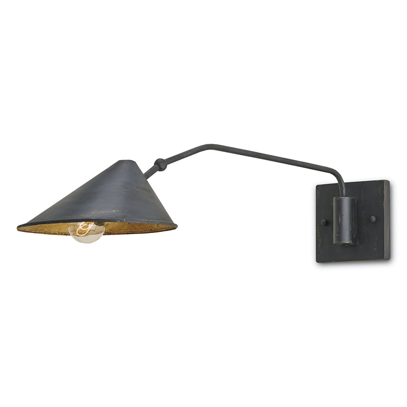 Currey and Company 5177 Serpa Single Wall Sconce in French Black/Gold Leaf