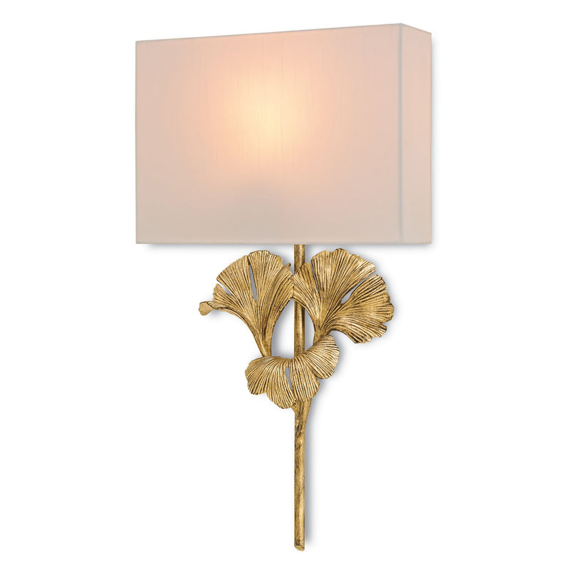 Currey and Company 5178 Gingko Gold Wall Sconce in Chinois Antique Gold Leaf