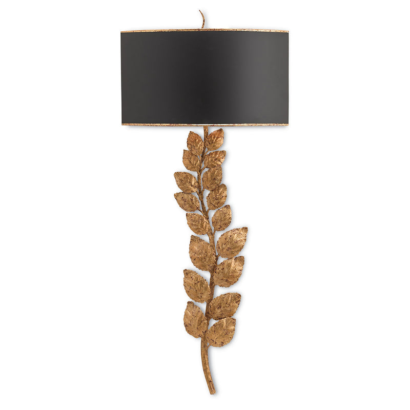 Currey and Company 5221 Birdwood Wall Sconce in Textured Gold Leaf/Satin Black