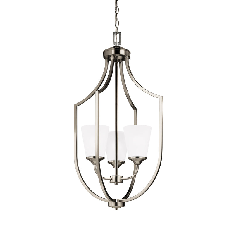 Generation Lighting 5224503-962 Sea Gull Hanford 3 Light Pendant in Brushed Nickel