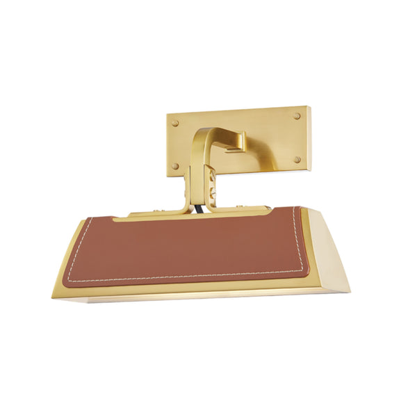 Hudson Valley Lighting 5310-AGB Holtsville 1 Light Wall Sconce W/ Saddle Leather in Aged Brass
