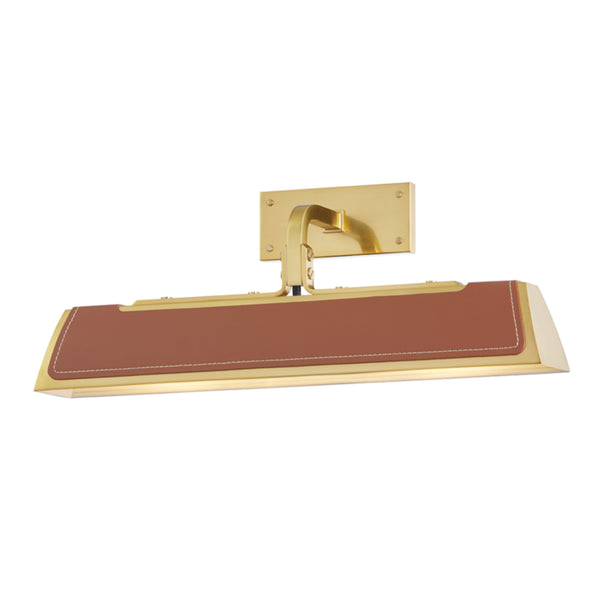 Hudson Valley Lighting 5318-AGB Holtsville 2 Light Wall Sconce W/ Saddle Leather in Aged Brass
