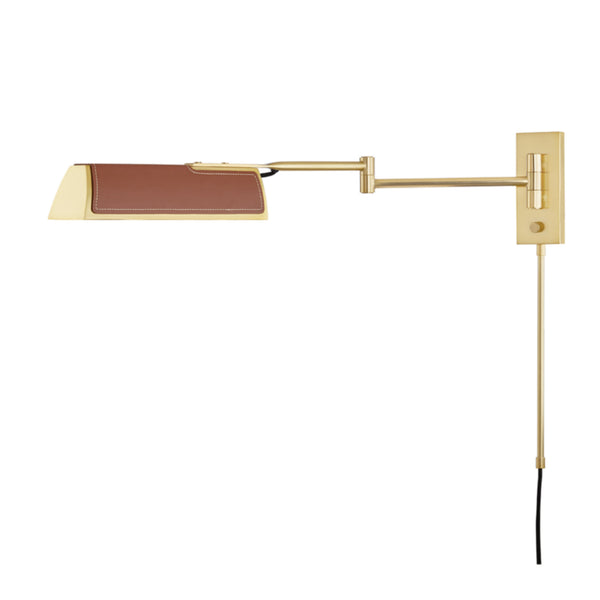 Hudson Valley Lighting 5331-AGB Holtsville 1 Light Swing Arm Wall Sconce W/ Saddle Leather in Aged Brass