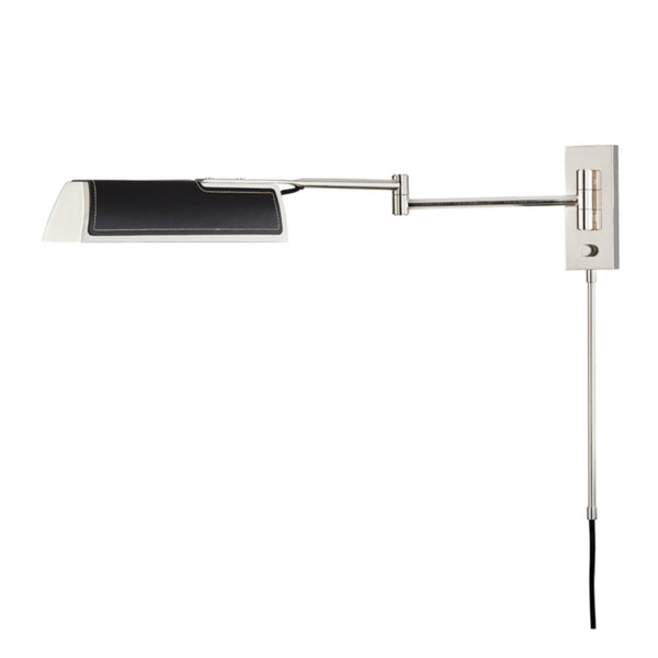 Hudson Valley Lighting 5331-BN Holtsville 1 Light Swing Arm Wall Sconce W/ Black Leather in Burnished Nickel