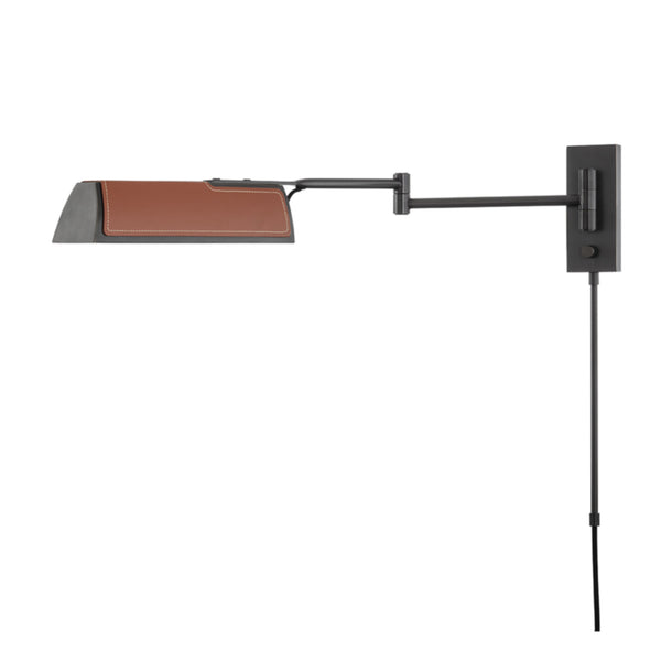 Hudson Valley Lighting 5331-OB Holtsville 1 Light Swing Arm Wall Sconce W/ Saddle Leather in Old Bronze