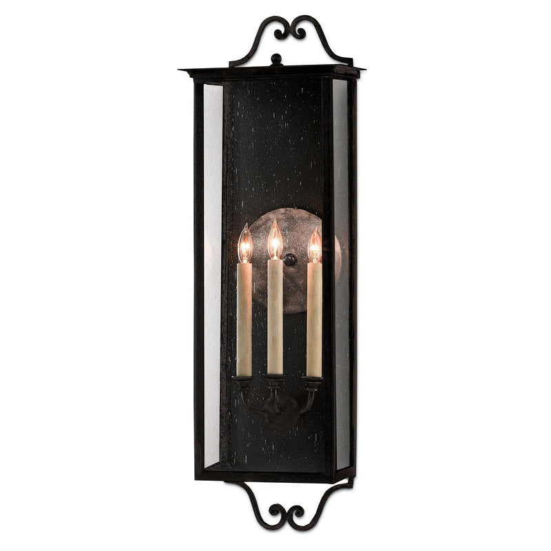 Currey and Company 5500-0007 Giatti Large Outdoor Wall Sconce in Midnight