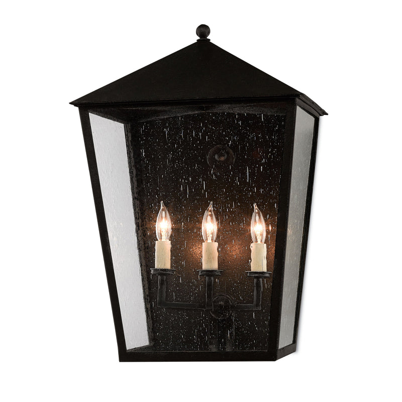 Currey and Company 5500-0010 Bening Large Outdoor Wall Sconce in Midnight