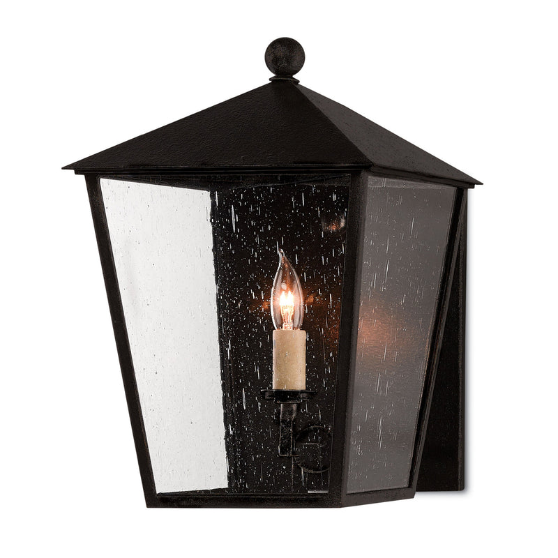 Currey and Company 5500-0012 Bening Small Outdoor Wall Sconce in Midnight