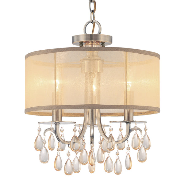 Crystorama 5623-AB Hampton Mini Chandelier in Antique Brass