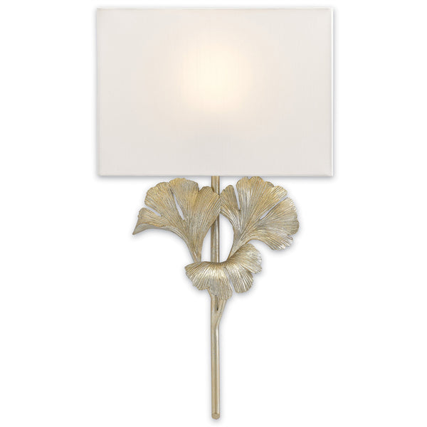Currey and Company 5900-0009 Gingko Silver Wall Sconce in Distressed Silver Leaf