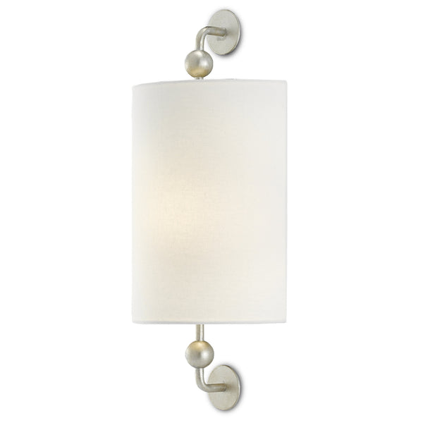 Currey and Company 5900-0030 Tavey Silver Wall Sconce in Contemporary Silver Leaf