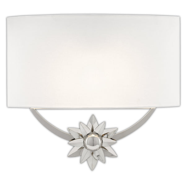 Currey and Company 5900-0032 Dayflower Nickel Wall Sconce in Polished Nickel/White