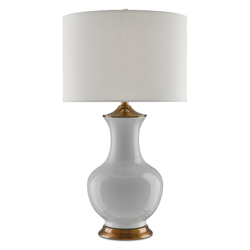 Currey and Company 6000-0020 Lilou White Table Lamp in White/Antique Brass