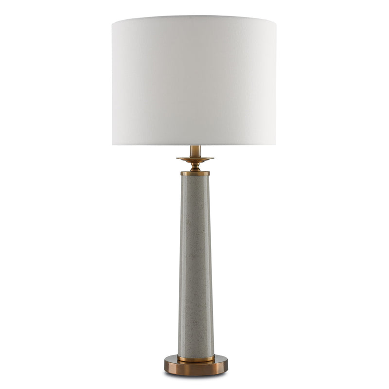 Currey and Company 6000-0032 Rhyme Gray Table Lamp in Speckled Griffin Gray/Antique Brushed Brass