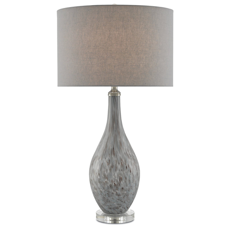 Currey and Company 6000-0177 Lupo Gray Table Lamp in Gray/Plum/Satin Nickel