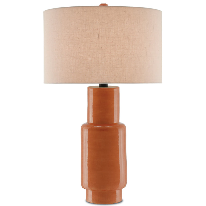 Currey and Company 6000-0192 Janeen Orange Table Lamp in Orange/Satin Black