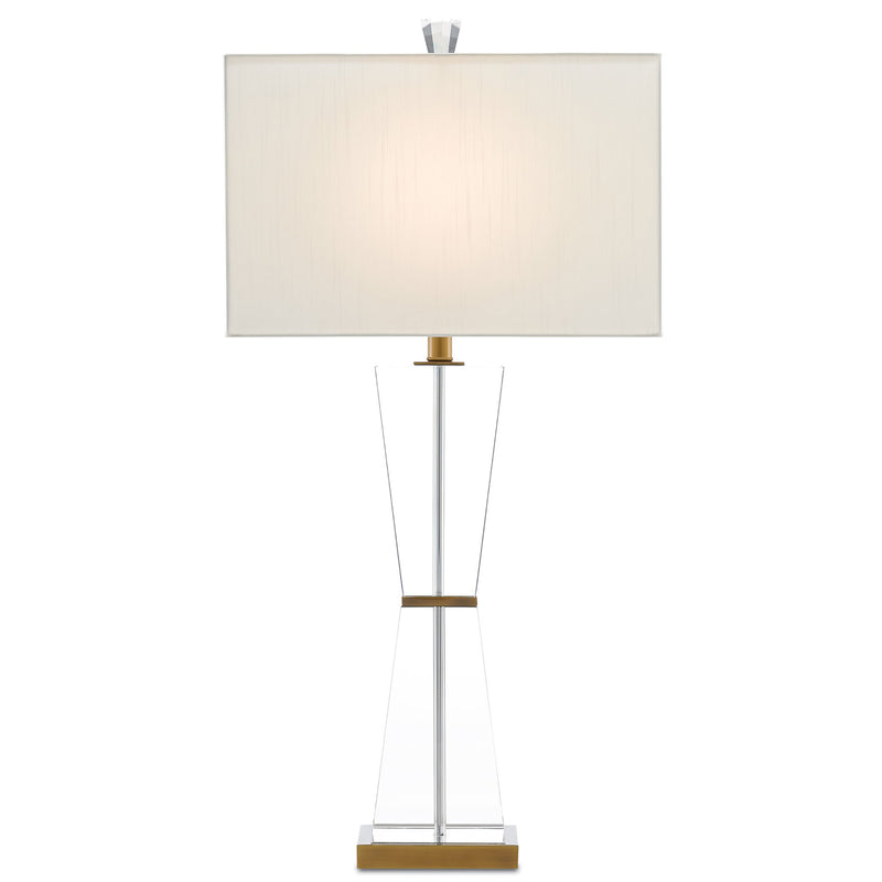 Currey and Company 6000-0210 Laelia Table Lamp in Clear/Antique Brass