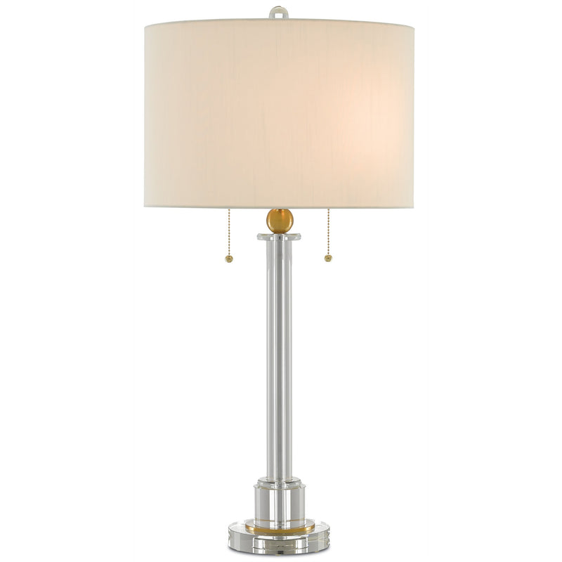 Currey and Company 6000-0211 Larsa Table Lamp in Clear/Antique Brass
