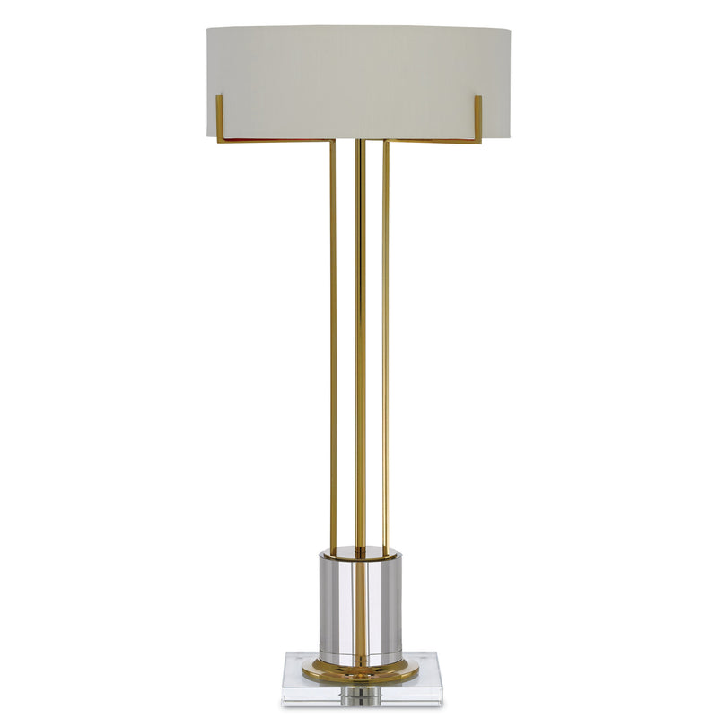 Currey and Company 6000-0355 Winsland Brass Table Lamp in Polished Brass/Clear