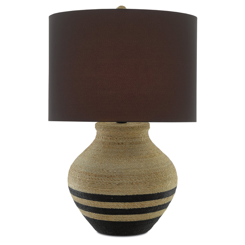 Currey and Company 6000-0426 Higel Table Lamp in Natural/Black/Satin Black