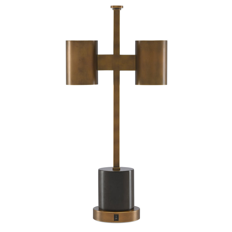 Currey and Company 6000-0448 Kiseu Table Lamp in Antique Brass/Black
