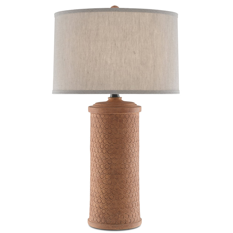 Currey and Company 6000-0488 Mesoma Table Lamp in Speckled Terracotta/Bronze Gold