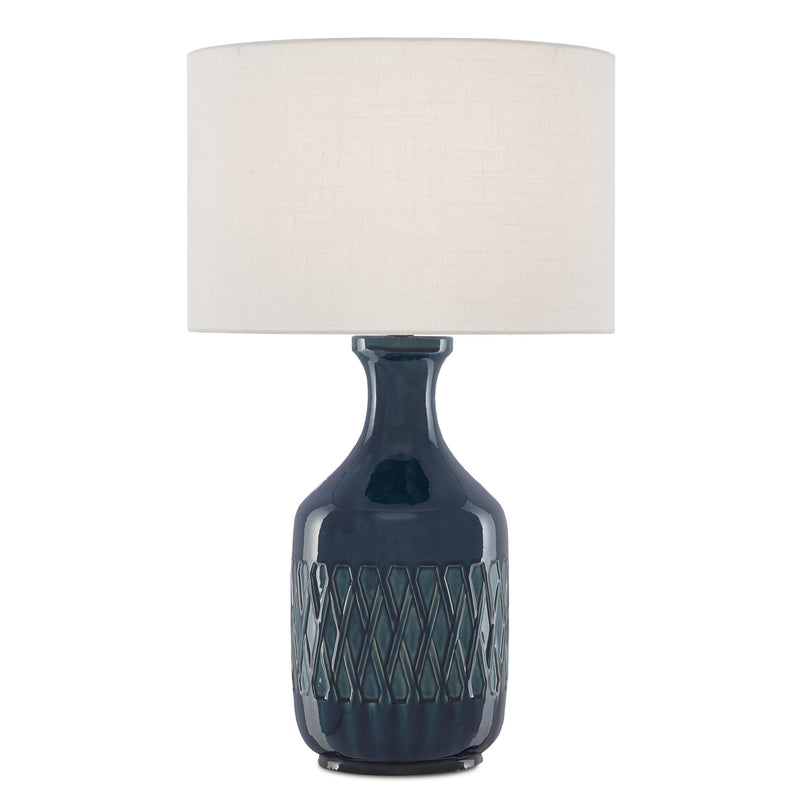 Currey and Company 6000-0515 Samba Blue Table Lamp in Ocean Blue