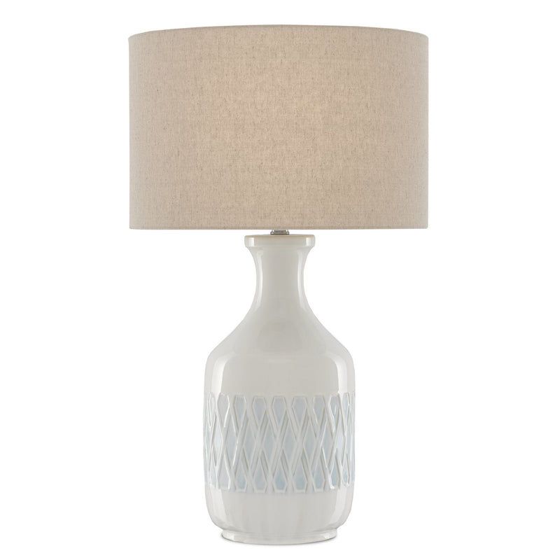 Currey and Company 6000-0516 Samba White Table Lamp in White/Sky Blue