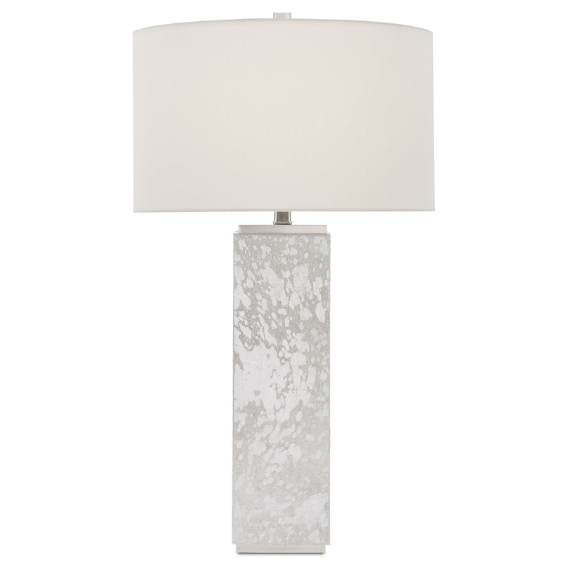 Currey and Company 6000-0525 Sundew Nickel Table Lamp in Silver Hair on Hide/Nickel