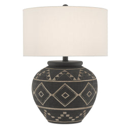 Currey and Company 6000-0539 Tattoo Table Lamp in Brewed Latte/Mole Black