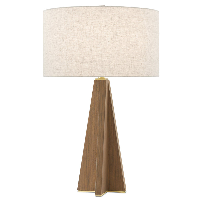 Currey and Company 6000-0548 Virtuosa Table Lamp in Teak/Brushed Brass