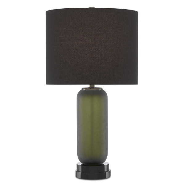 Currey and Company 6000-0575 Absinthe Table Lamp in Dark Olive/Black/Antique Brass