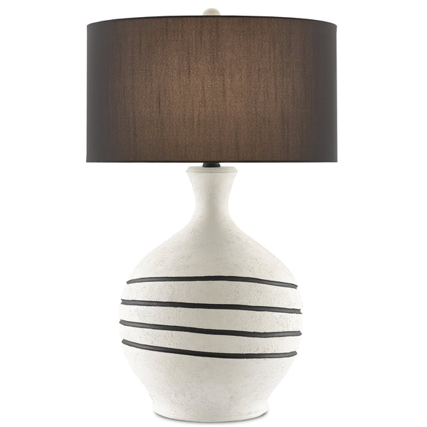 Currey and Company 6000-0622 Nabdean Table Lamp in Cream/Black/Blacksmith