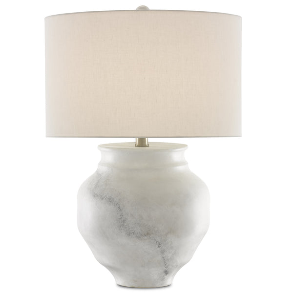 Currey and Company 6000-0623 Kalossi Table Lamp in Painted White/Painted Gray/Contemporary Silver Leaf