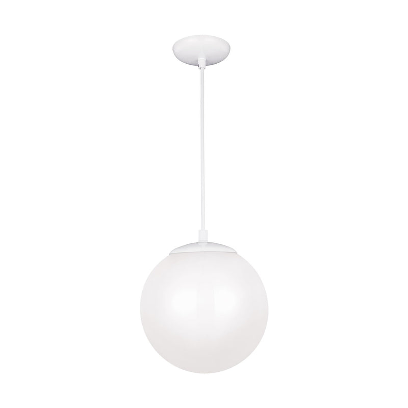 Generation Lighting 602093S-15 Sea Gull Leo - Hanging Globe 1 Light 3000K LED Pendant in White