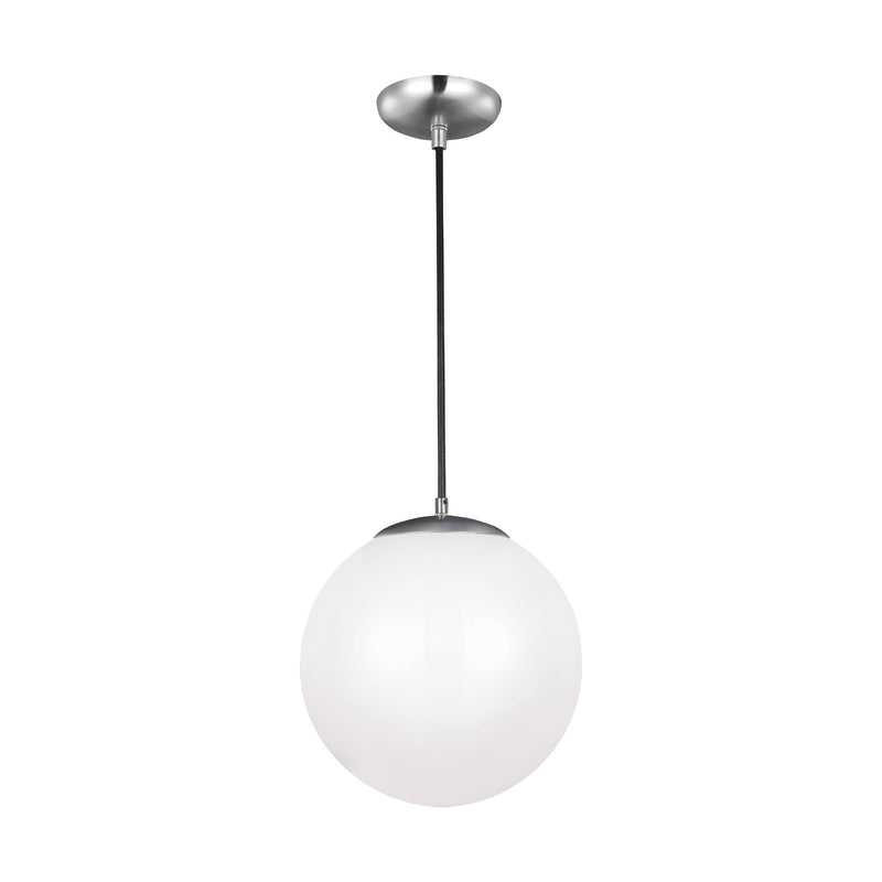 Generation Lighting 6024-04 Sea Gull Leo - Hanging Globe 1 Light Pendant in Satin Aluminum