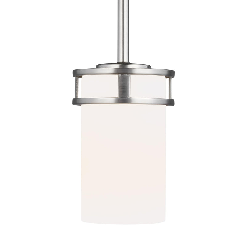 Generation Lighting 6121601-962 Sea Gull Robie 1 Light Pendant in Brushed Nickel