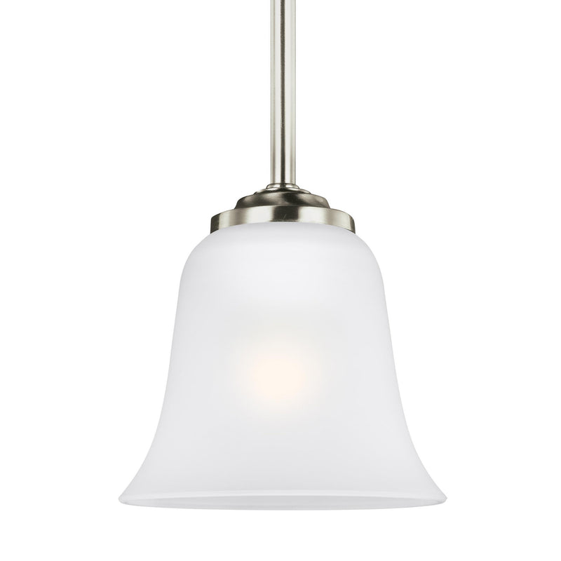 Generation Lighting 6139001-962 Sea Gull Emmons 1 Light Pendant in Brushed Nickel