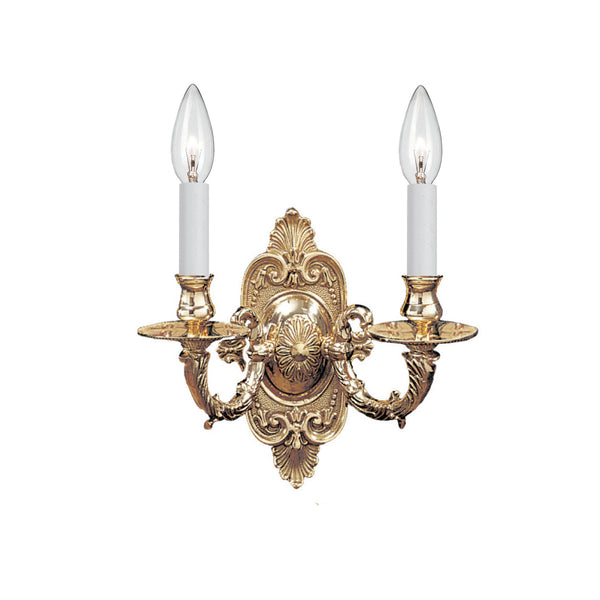 Crystorama 642-PB Cast Brass Wall Mount Wall Mount in Polished Brass