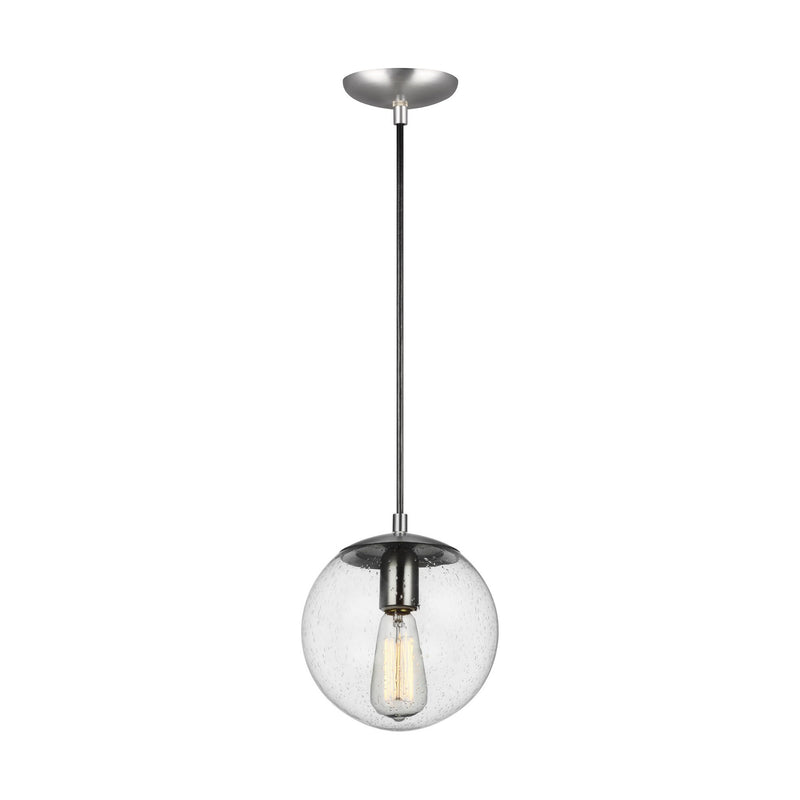 Generation Lighting 6501801-04 Sea Gull Leo - Hanging Globe 1 Light Pendant in Satin Aluminum