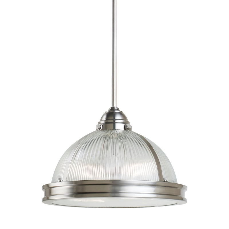 Generation Lighting 65061-962 Sea Gull Pratt Street Prismatic 2 Light Pendant in Brushed Nickel
