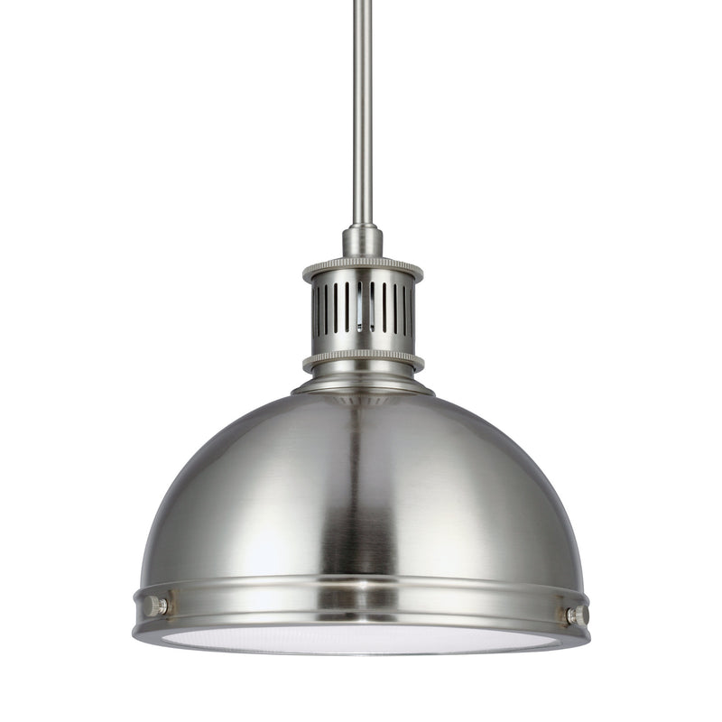 Generation Lighting 65085-962 Sea Gull Pratt Street Metal 1 Light Pendant in Brushed Nickel