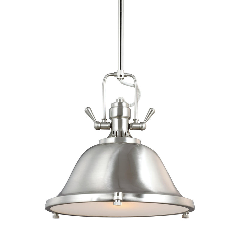 Generation Lighting 6514401-962 Sea Gull Stone Street 1 Light Pendant in Brushed Nickel