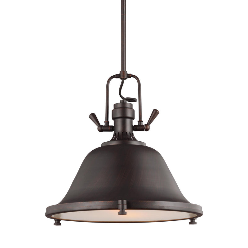 Generation Lighting 6514402-710 Sea Gull Stone Street 2 Light Pendant in Burnt Sienna