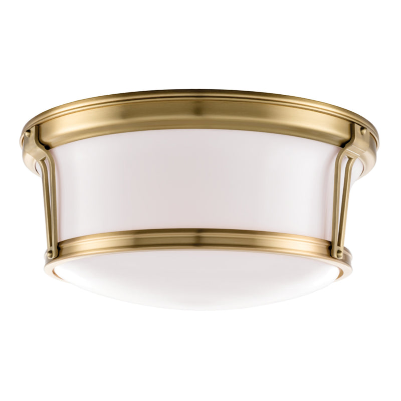 Hudson Valley Lighting 6515-AGB Newport 3 Light Flush Mount in Aged Brass