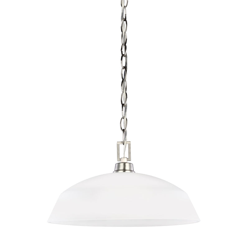 Generation Lighting 6515201-962 Sea Gull Kerrville 1 Light Pendant in Brushed Nickel