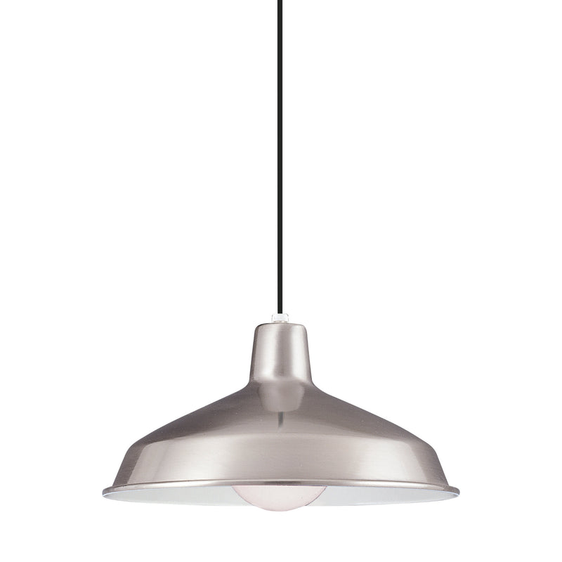 Generation Lighting 6519-98 Sea Gull Painted Shade Pendants 1 Light Pendant in Brushed Stainless