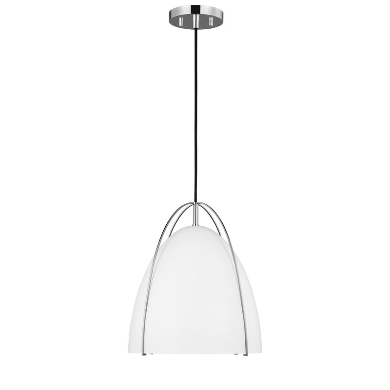Generation Lighting 6551801-05 Sea Gull Norman 1 Light Pendant in Chrome / Matte White