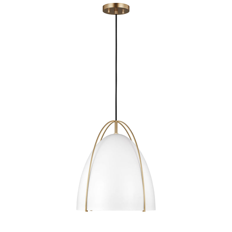 Generation Lighting 6551801-848 Sea Gull Norman 1 Light Pendant in Satin Bronze / Matte White